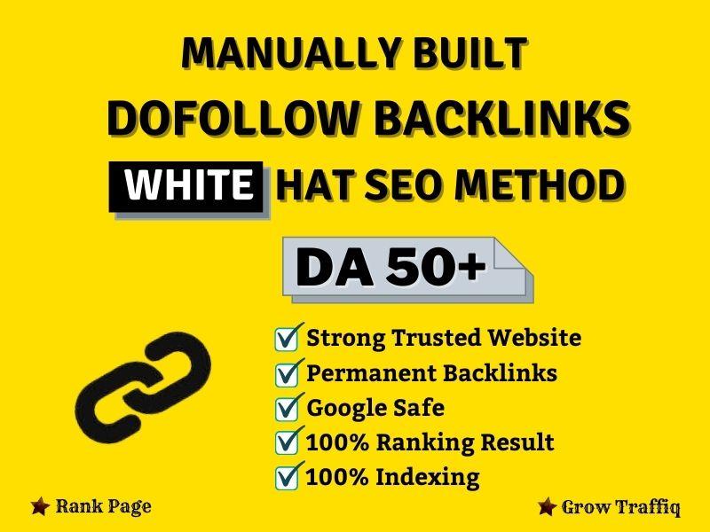 I will build manually SEO dofollow backlinks use white hat method