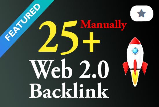 Premium quality 25+ manual web 2.0 backlink DA 40+ white hat seo service