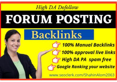 I will do manually 50 high quality forum posting backlinks