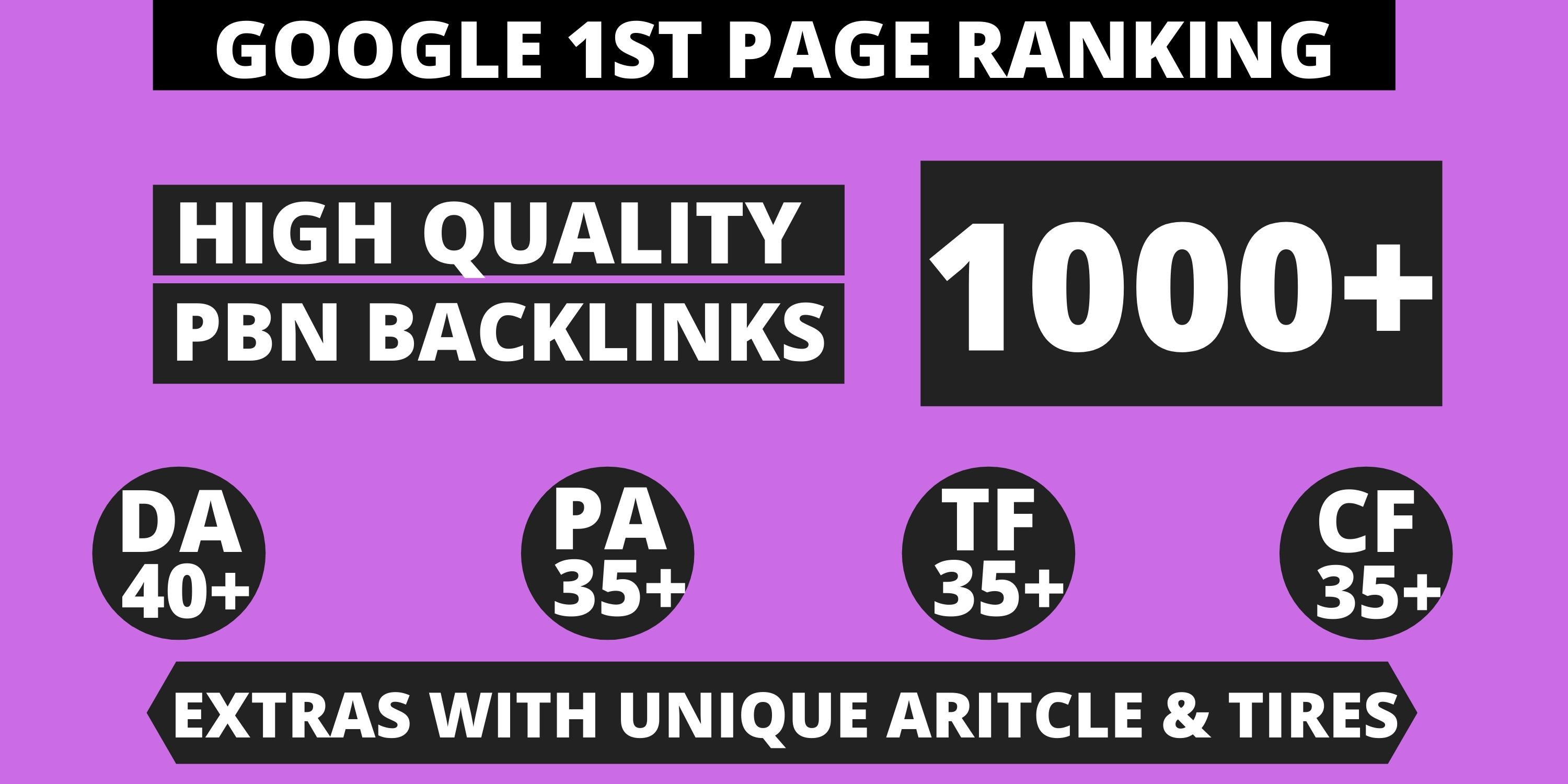 Get Extreme 1000+ PBN Backlink in your website homepage with HIGH DA/PA/TF/CF with unique website
