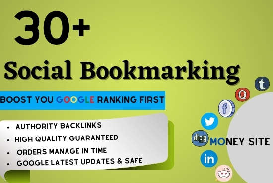 Create top 30+ Social Bookmarking SEO Backlinks on Dofollow High DA Sites