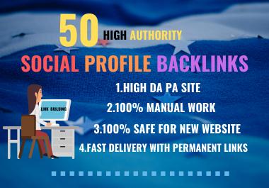 Create 50 HQ Social profile creations SEO backlinks manually