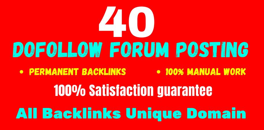 Manually Create 40 forum posting high quality da & PA off page seo permanent linkbuilding