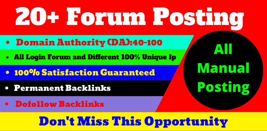 I will do 20+ high quality and low spam score dofollow forum posting backlinks