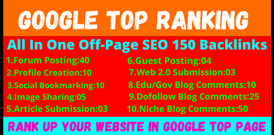 I will make Off-Page SEO Package Boost Your Site On Top SEO Service 150 Backlinks
