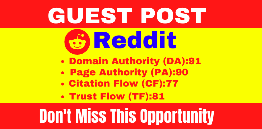 I will do write and publish a guest blog post on Reddit DA91