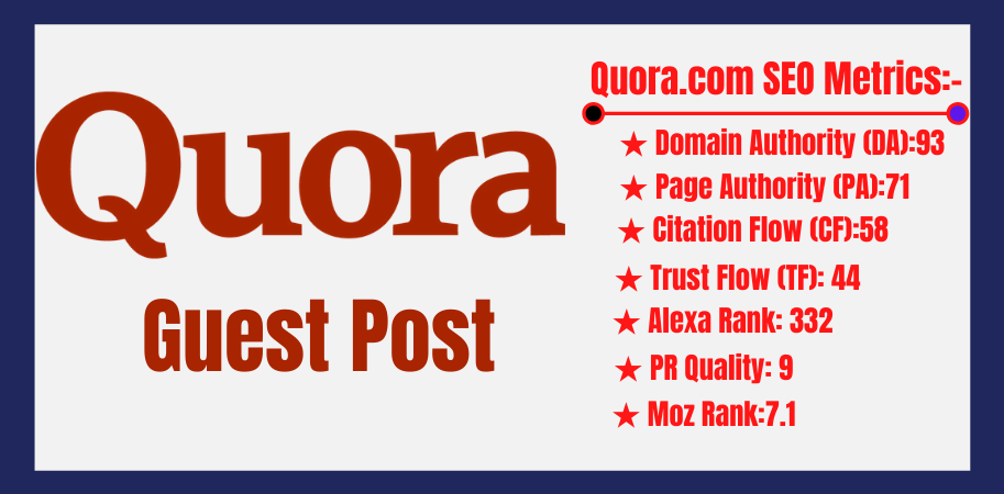 I will do write and publish guest post on quora. com DA93 with Dofollow Backlinks