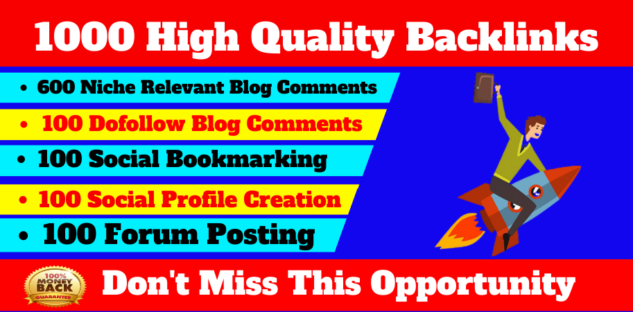 Mix 1000 Backlinks, niche blog comments, forum posting, social bookmarking, socail profile creation