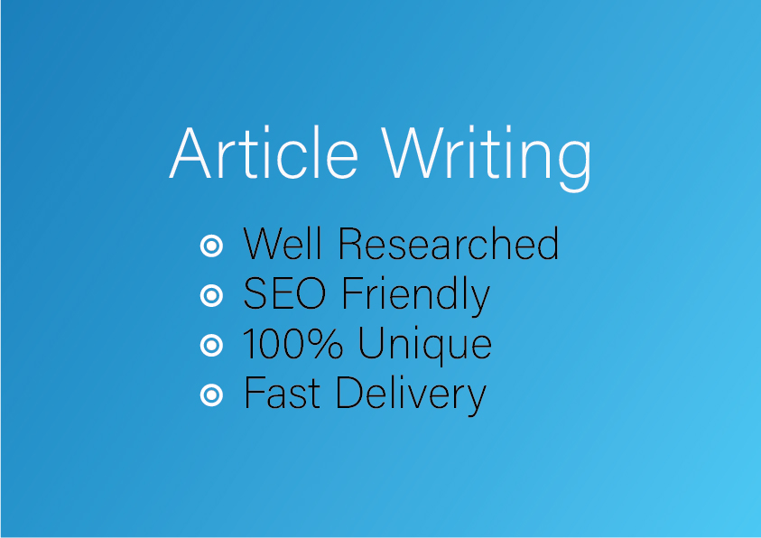 2000 words Researched and Creative Article Writing