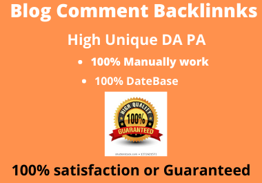 I will do manually 50 Blog Comments backlinks on high DA PA Domains