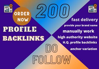 Manual create high DA,  PA,  do-follow 200 profile backlink