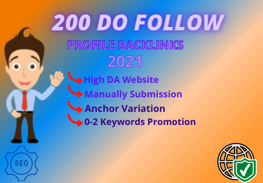 Manually 200 High DA Dofollow Profile Backlinks-2021