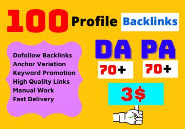 I will do 100 high Da Profile Backlinks manually