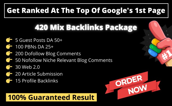 Get Ranked At The Top Of Google 1st Page With 420 Mix Backlinks