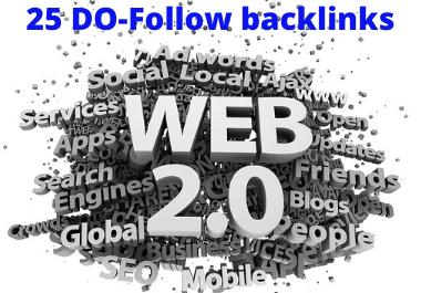 DA 80+ For 25 WEB 2.0 DO-FOLLOW Backlinks on SEO Ranking