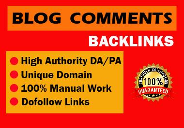 Manual 30 blog comments High authority permanent backlink unique content natural link building