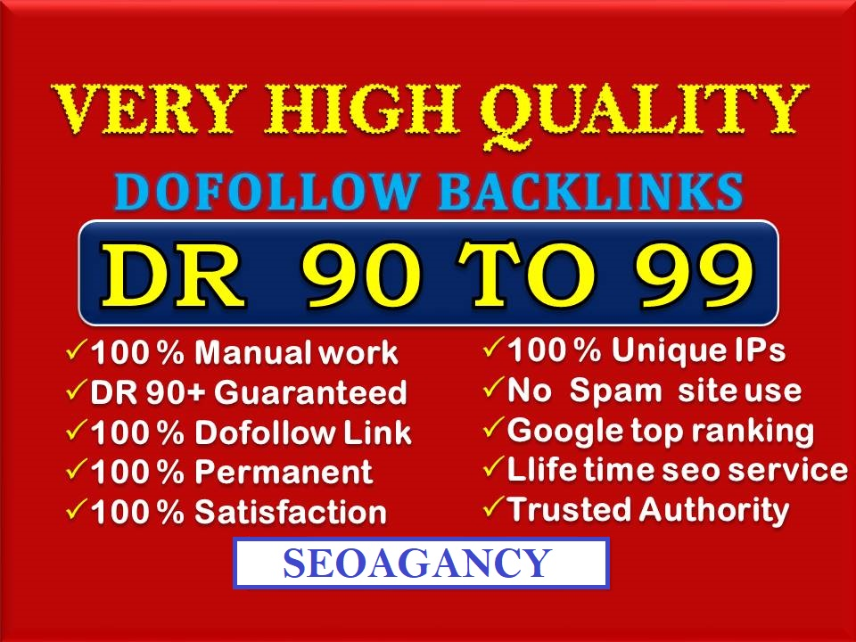 Build 50+DR 90 To 99 High Quality Authority Dofollow Backlinks Off Page SEO For Google Top Ranking