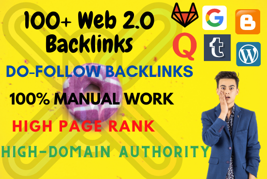 Get 100+ High-Quality,  Do-Follow WEB 2.0 Backlinks for ranking top your website