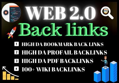 Manual 20 web2.0 Backlinks DA Unique link building permanent dofollow contextual