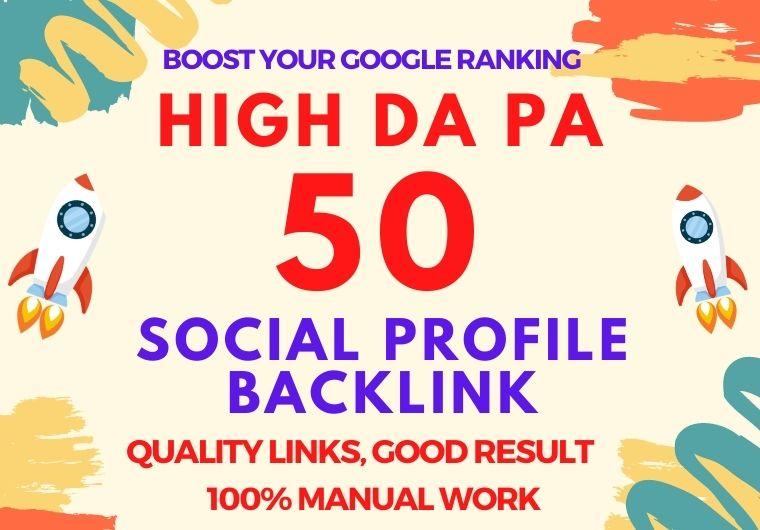 I create 50 High DA PA Social profile backlinks