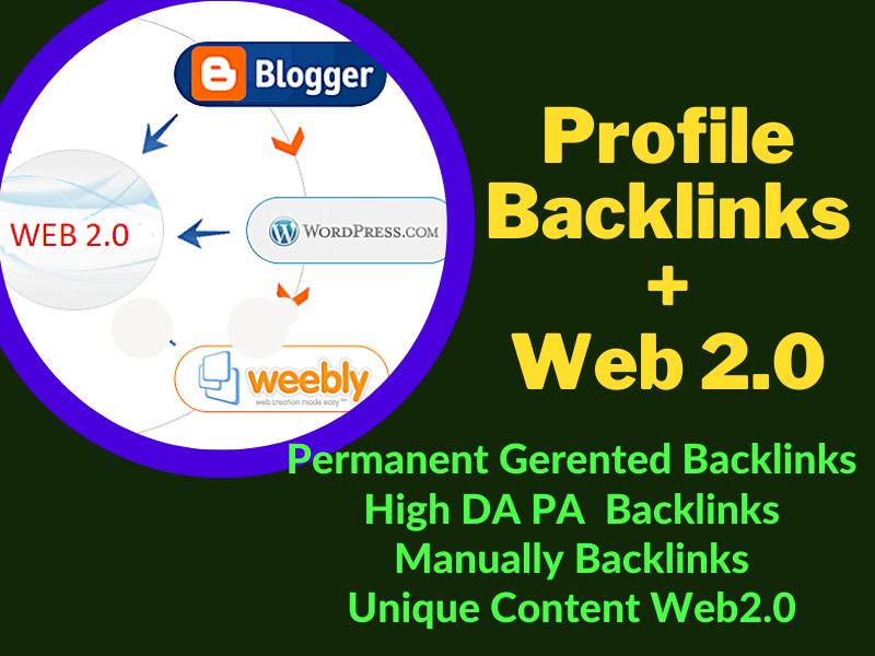 H/Q 20 Web 2.0 with 150 Profile Backlinks in High DA/DA site