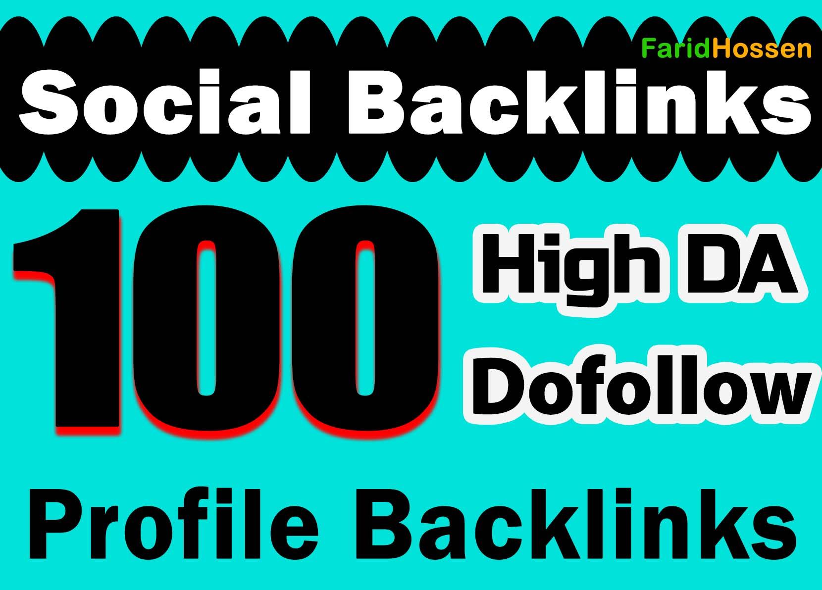 Unique 100 Social Profile Backlinks High DA PA And PR