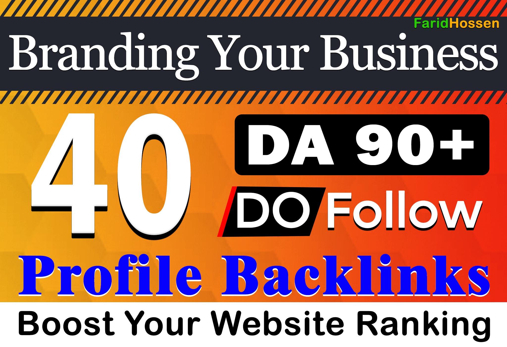 Manual 40 Profile Backlinks DA 90+ Unique Domain 2021