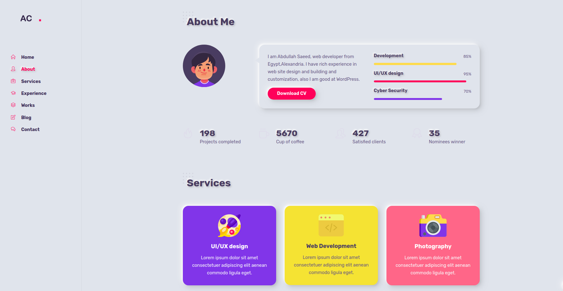 Animation Personal Website Template HTML5/CSS3/JavaScript