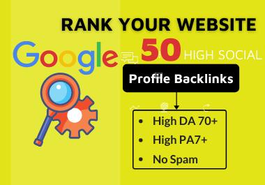 50 High quality Social profile backlinks manually create-2021