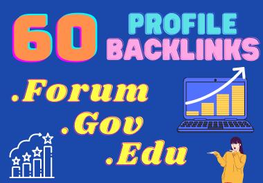 Build 60 HQ Forum, Gov & Edu Mixed Social Profile Backlinks