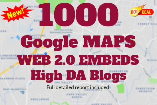 embed your google map in 25,000 web20 high da blogs best for local SEO