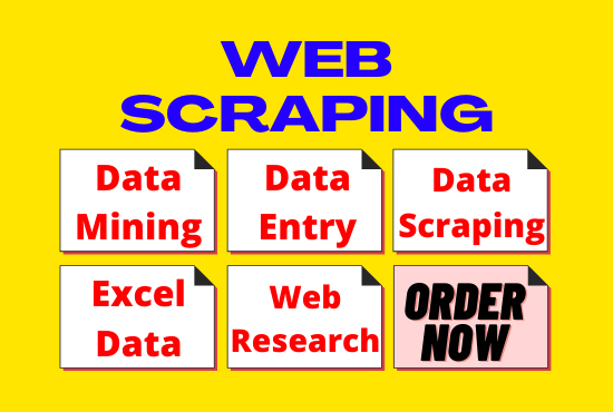 I will do web scraping,  data mining,  data scraping,  data entry and web research