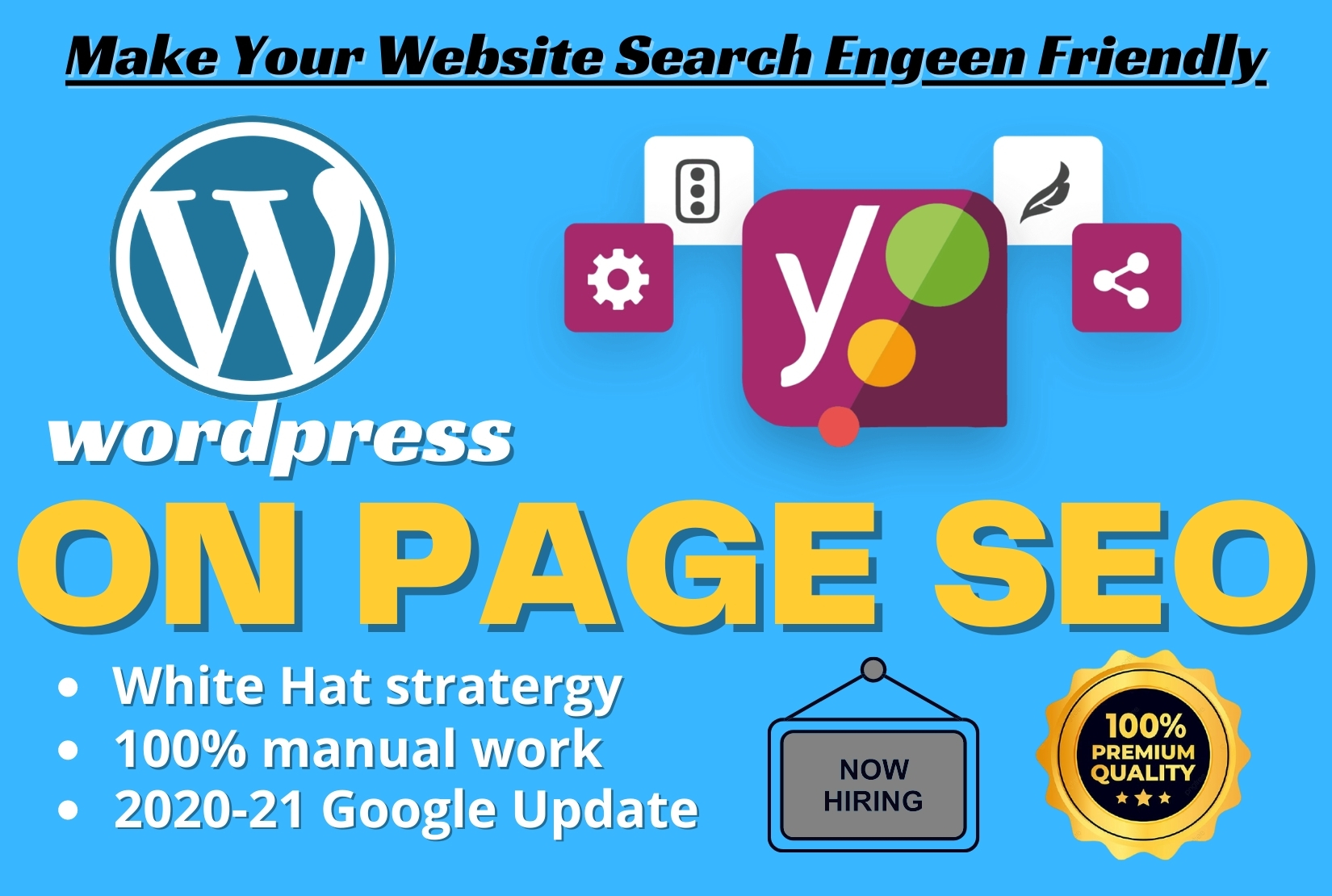 I will do WordPress on-page and technical SEO with Yoast.