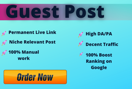 Write and Publish Unique 5 Guest Posts On High Metrics and Authority Sites,  Indexable backlinks