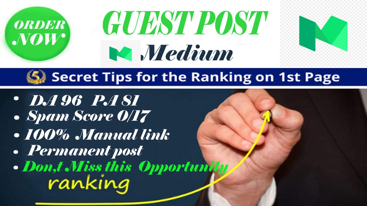 Write and publish a guest post on Medium DA 96 PA 81