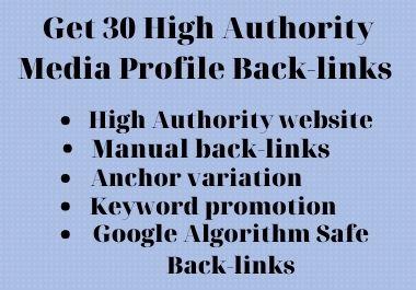 Manually Create 30 Social Media Profiles Backlinks