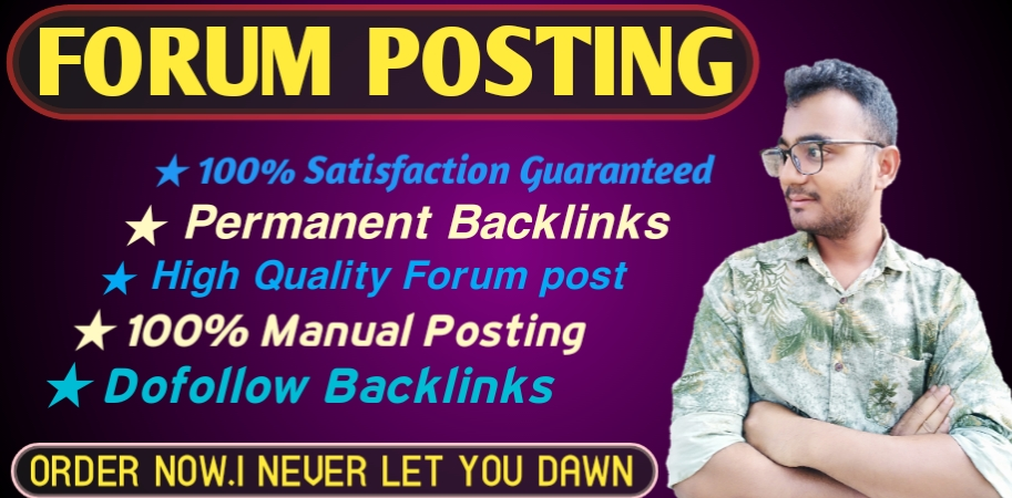 Provide 40 forum posting backlinks on High DA PA to increase your website ranking