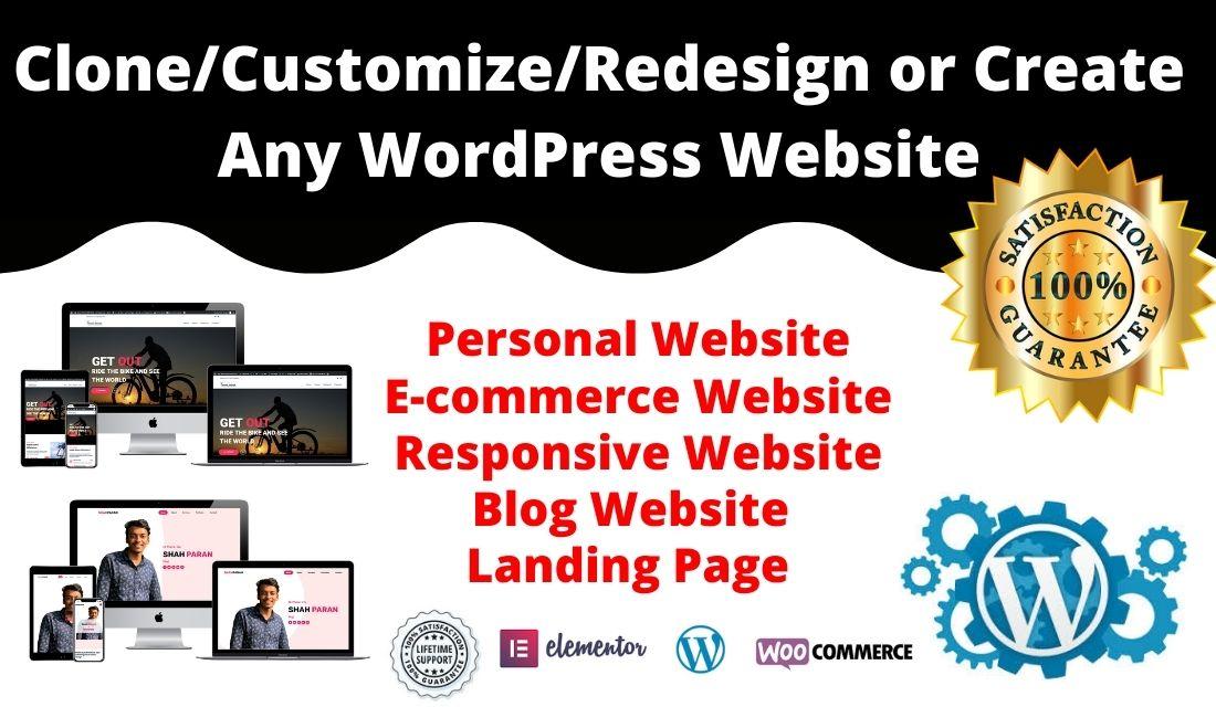 I will create responsive wordpress website,  wordpress design or WordPress landing page.