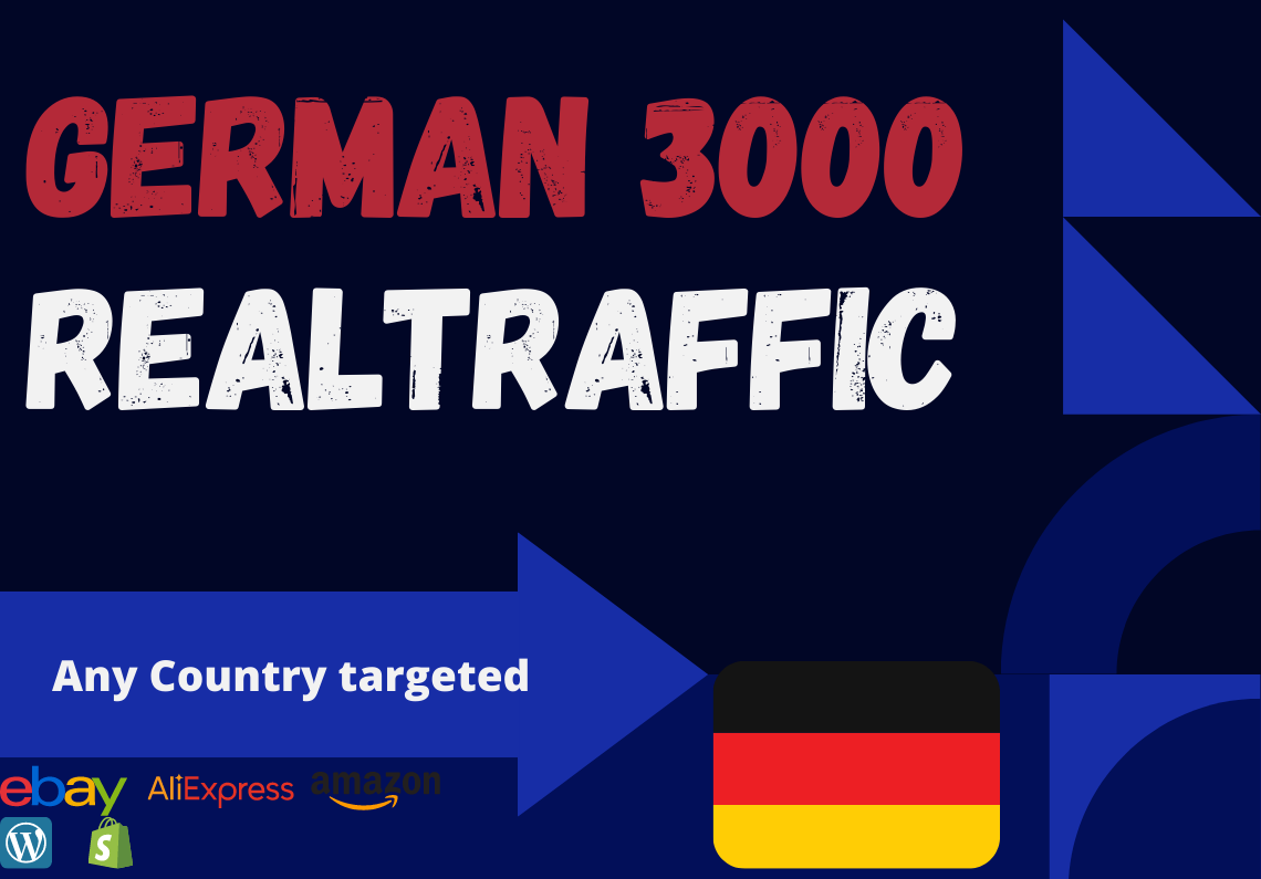 German website Real person 3000 traffic low bounce rate and google analytics trackable