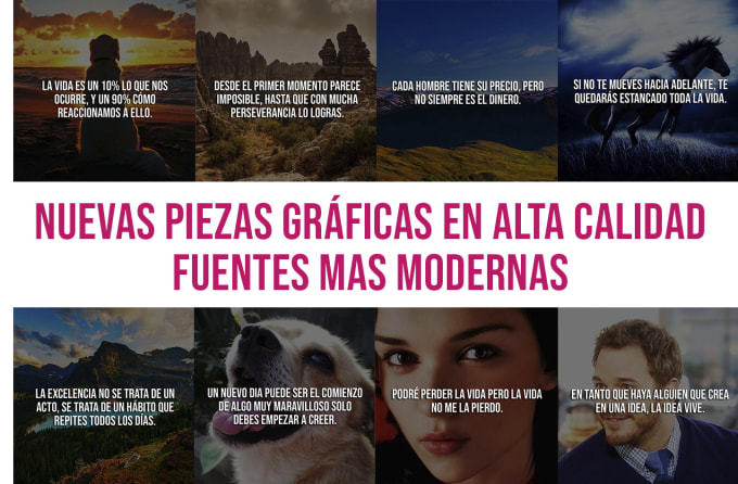 I will create 10k spanish motivational quotes images