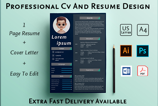 I will make a professional CV,  resume writing,  and portfolio design