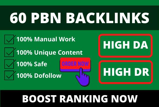 I will post 60 PBN backlinks from high da dr tf cf websites