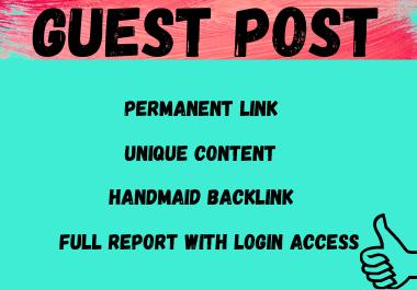 Write and publish 50 Do-Follow Guest Post high authority websites unique article DA 80+