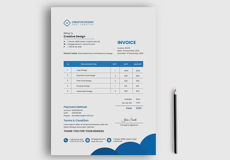 I will do invoice template design