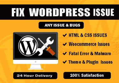 Fix wordpress issues, 404 error,  bug, css, theme, plugin and any wordpress problem