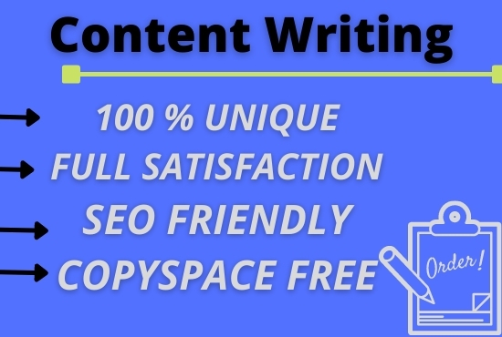 I will do write a unique SEO Friendly content writer Blog Post and be your web content. I will do