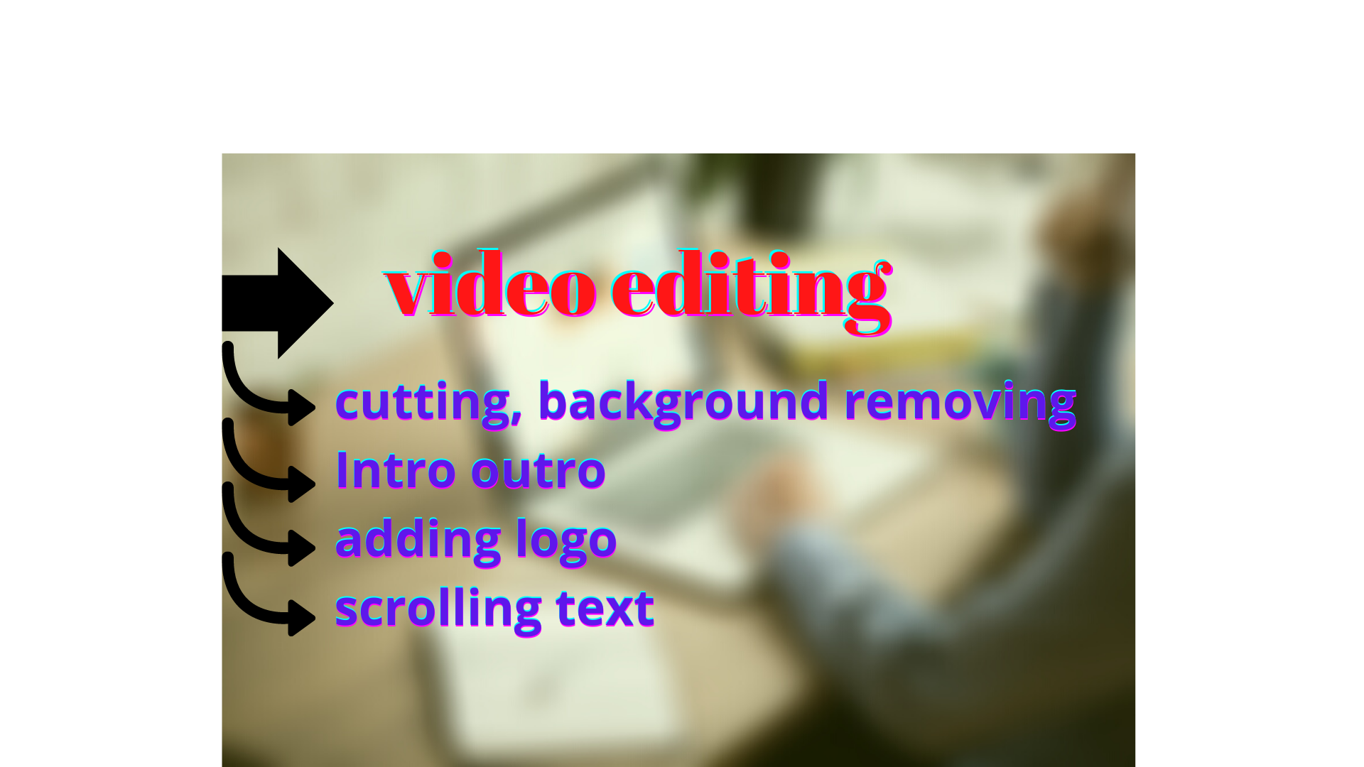 I will do video editing professionally with intro outro
