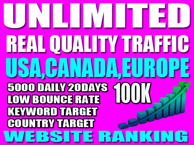 I will drive USA, CANADA, EUROPE organic targeted web traffic real visitors