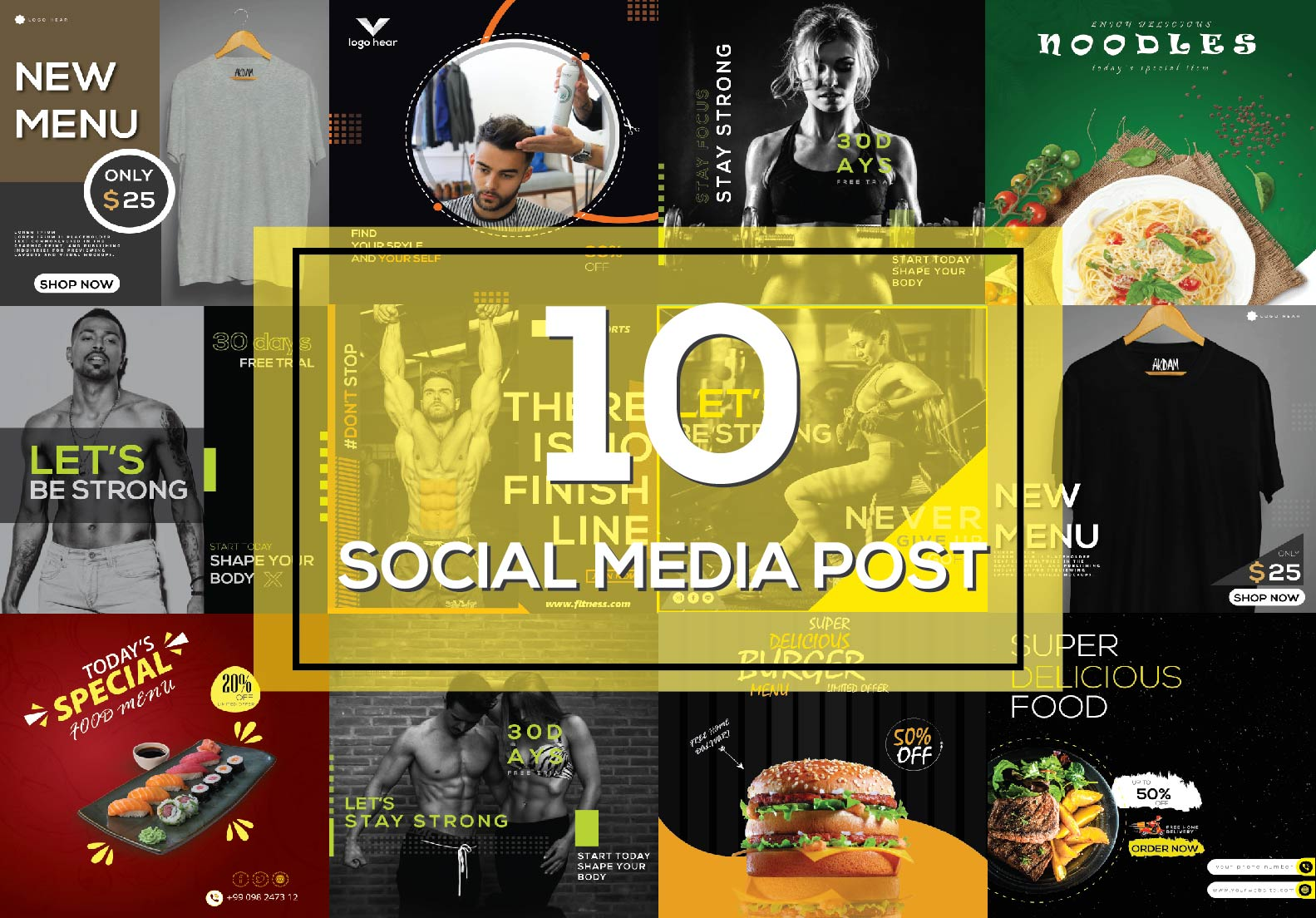 I will create attractive 10 social post and Facebook cover design