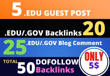 I will Do 5 EDU guest posts, 20 Edu/gov & 25 Edu blog comment backlinks to rank your websites